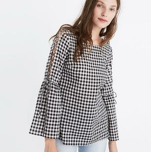 Madewell Gingham lace bell sleeve top size…